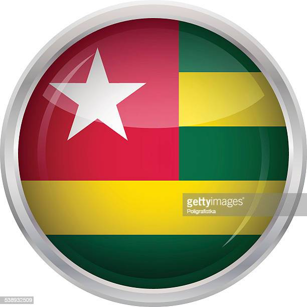 glossy button - flag of togo - togo stock illustrations, clip art, cartoons, & icons