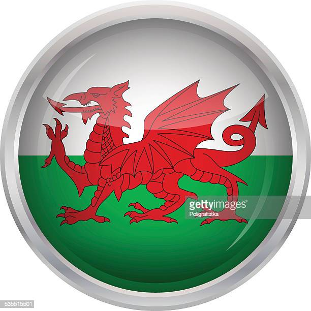 Glossy Button - Flag of Wales