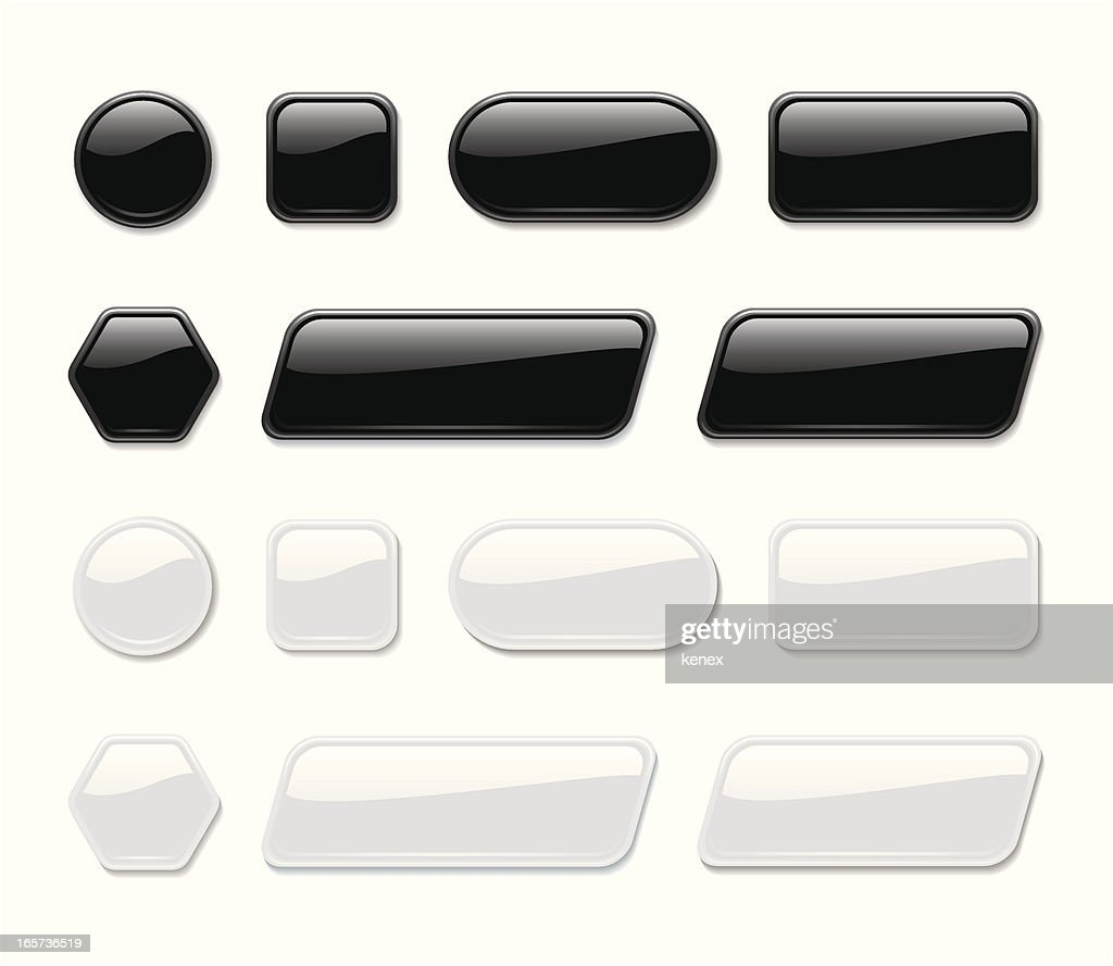 Glossy Buttons ( Black & White )