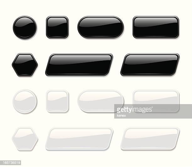 光沢のあるボタン(ブラック&ホワイト) - ボタン点のイラスト素材/クリップアート素材/マンガ素材/アイコン素材