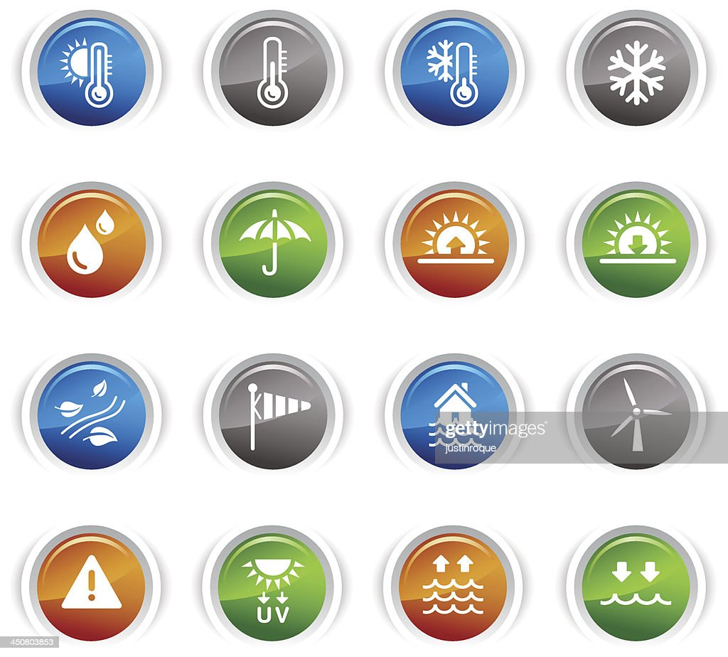 Glossy Buttons - Weather and Meteorology Icons
