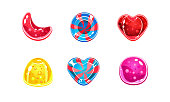 Glossy candies set, sweets of different shapes, user interface assets for mobile apps or video games vector Illustration on a white background