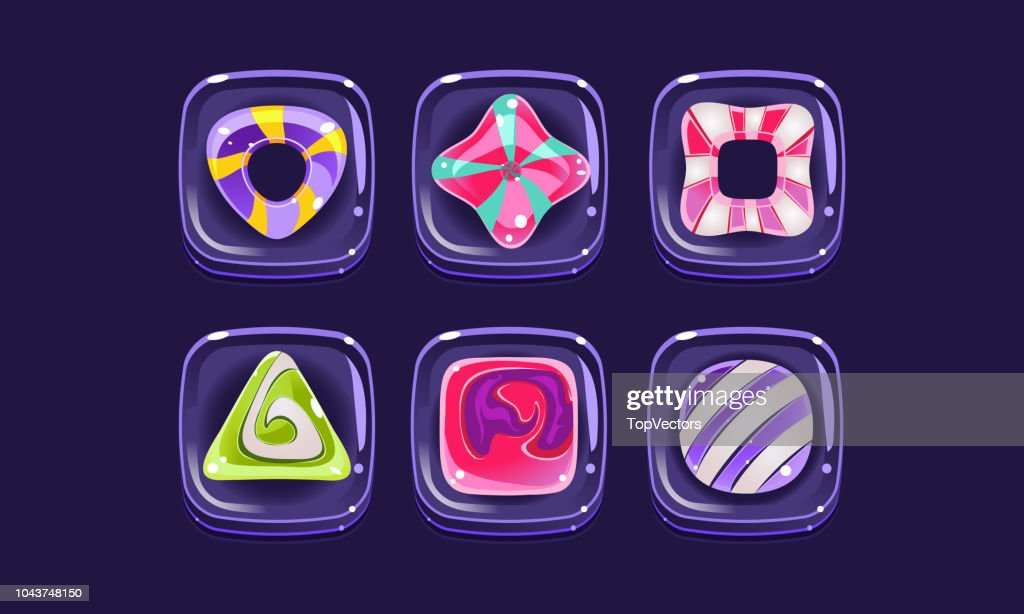 Glossy colorful shapes set, square candy blocks, assets for user interface GUI for mobile apps or video games vector Illustration