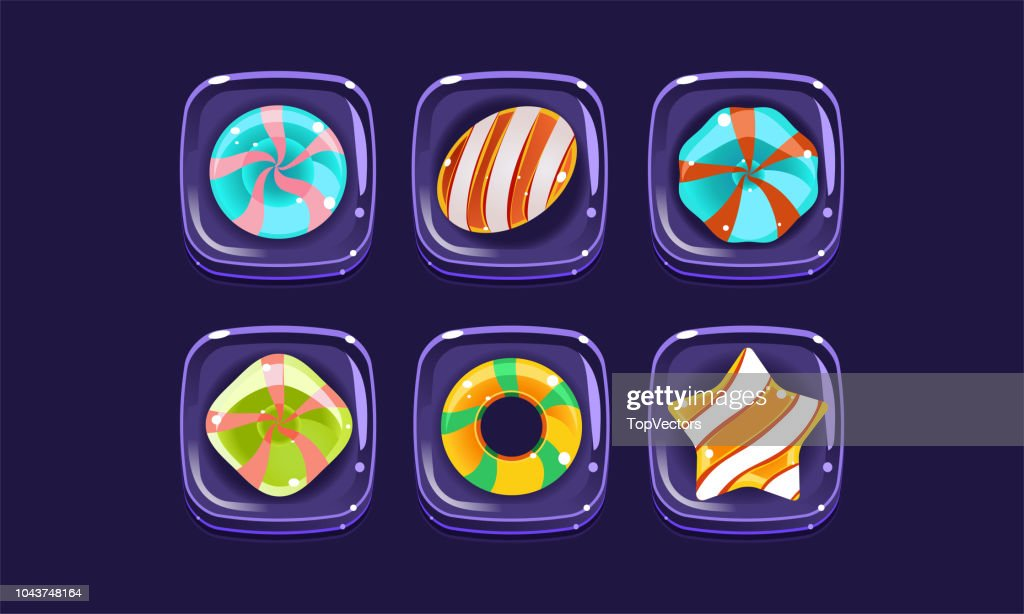 Glossy colorful shapes set, sweet square candy blocks, assets for user interface GUI for mobile apps or video games vector Illustration