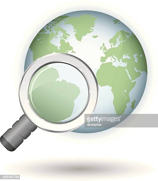 glossy earth, magnifying glass