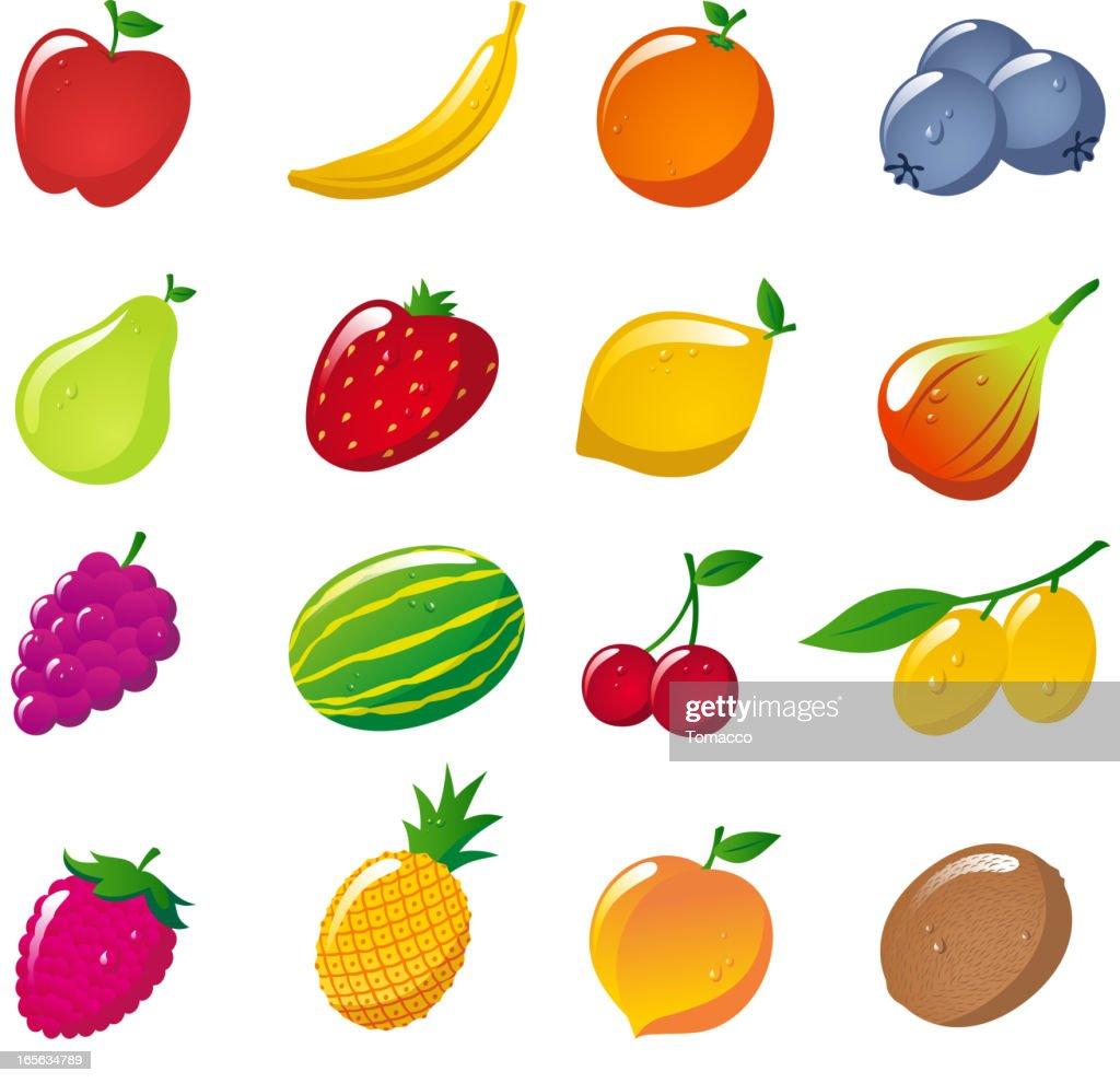 Glossy fruit Apple Banana Orange Strawberry Pineapple Cherry  Lemon Kiwi