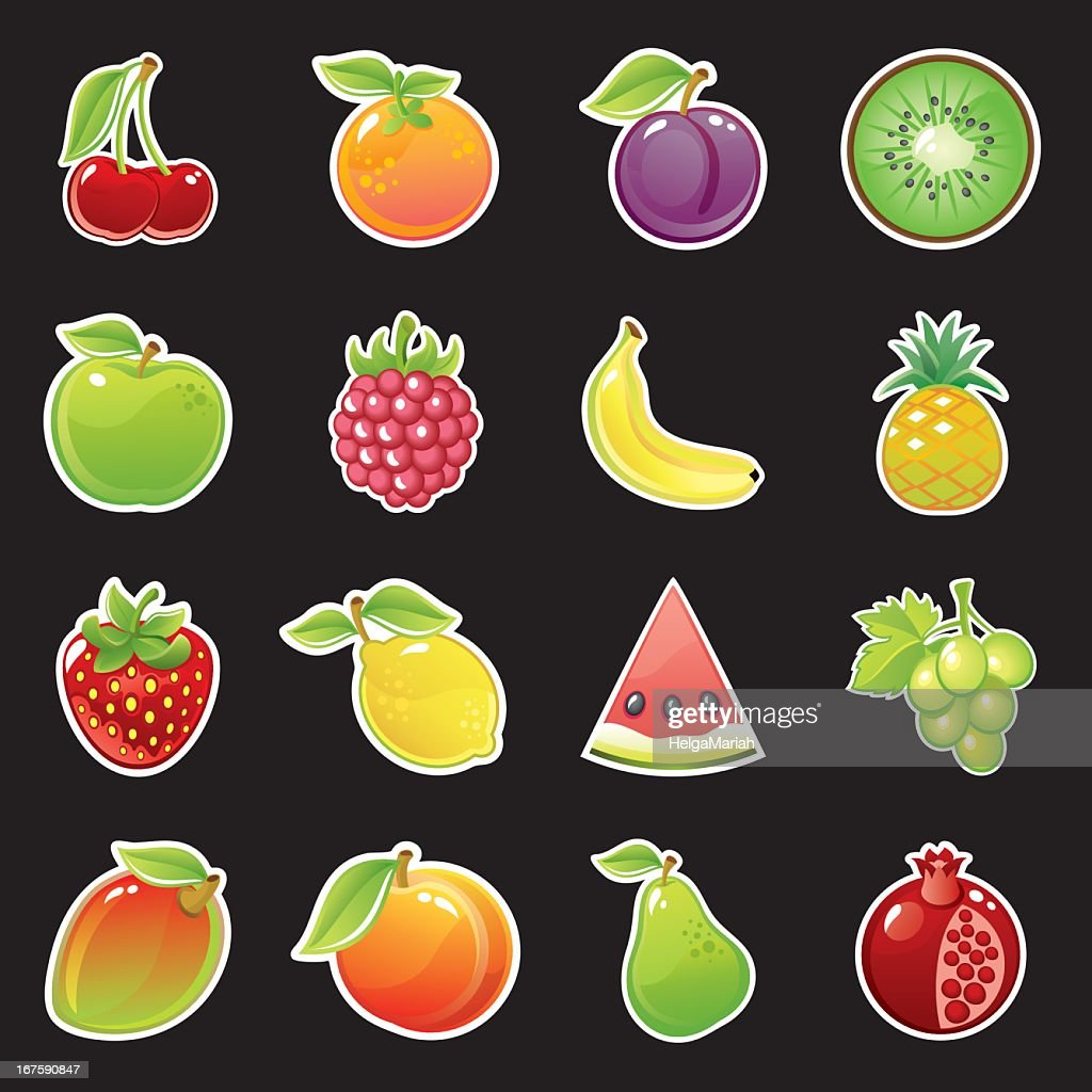 Glossy Fruits Icon Set