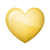 Glossy gold heart Icon on white background