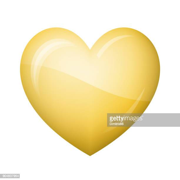 glossy gold heart icon on white background - white gold stock illustrations