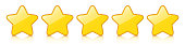 Glossy golden five star icon rating with reflection.