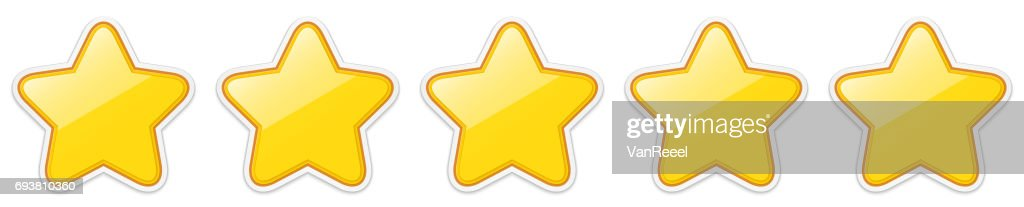 Glossy golden five star sticker icon rating.
