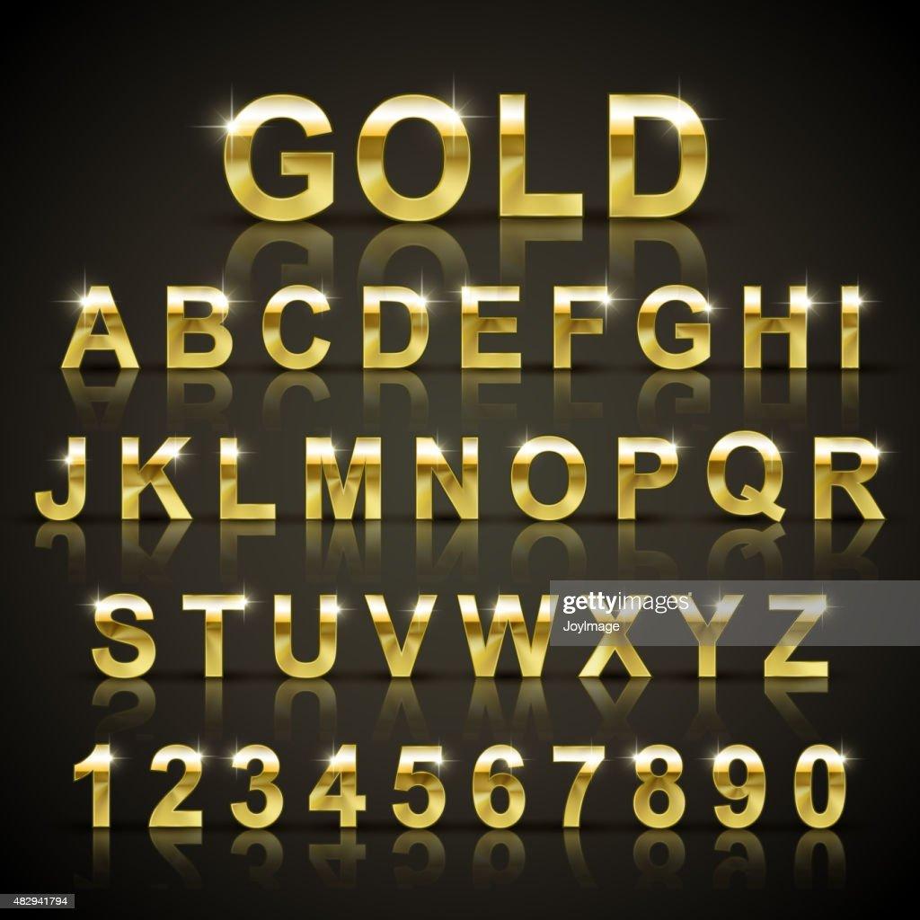 glossy golden font design set