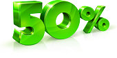 Glossy green 50 Fifty percent off, sale. Isolated on white background, 3D object