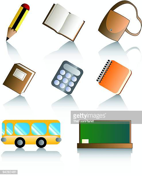 glossy icons: back to school - closed stock illustrations, clip art, cartoons, & icons