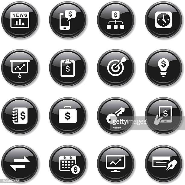 glossy icons set | banking & finance - accounting ledger stock illustrations, clip art, cartoons, & icons