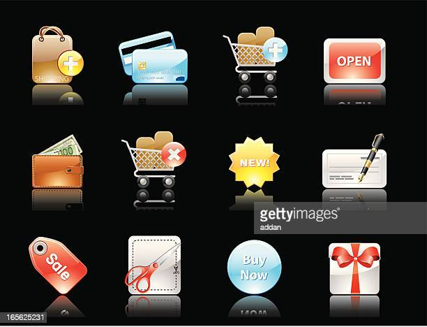 glossy icons(reflections on black background) - european union euro note stock illustrations, clip art, cartoons, & icons