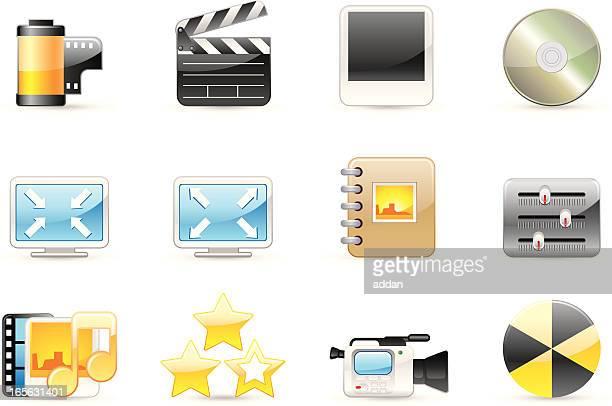 ilustraciones, imágenes clip art, dibujos animados e iconos de stock de brillante iconos - rollo de cine