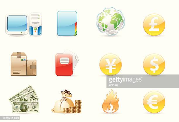 stockillustraties, clipart, cartoons en iconen met glossy icons - e mail