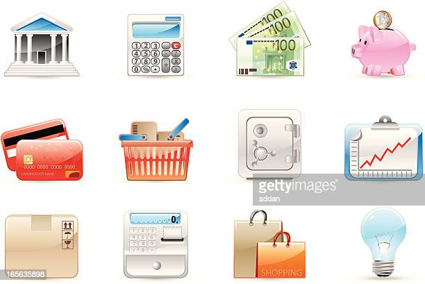 glossy icons - european union euro note stock illustrations, clip art, cartoons, & icons