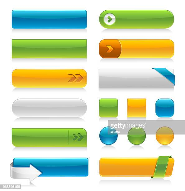 glossy internet buttons - rectangle stock illustrations