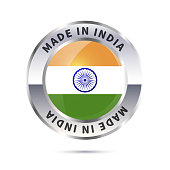 Glossy metal badge icon, made in India with flag