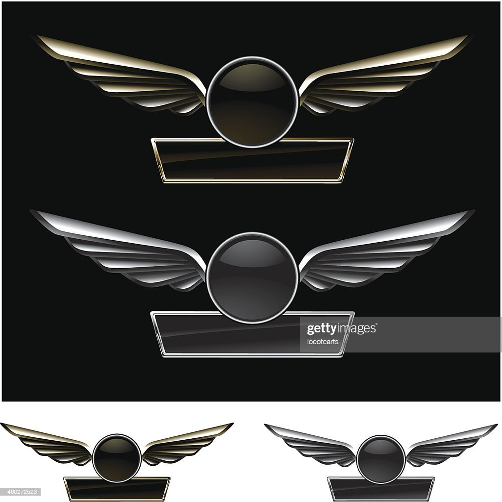 glossy metal racing shield with banner