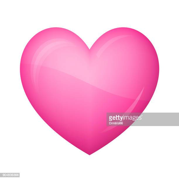 Glossy pink heart Icon on white background