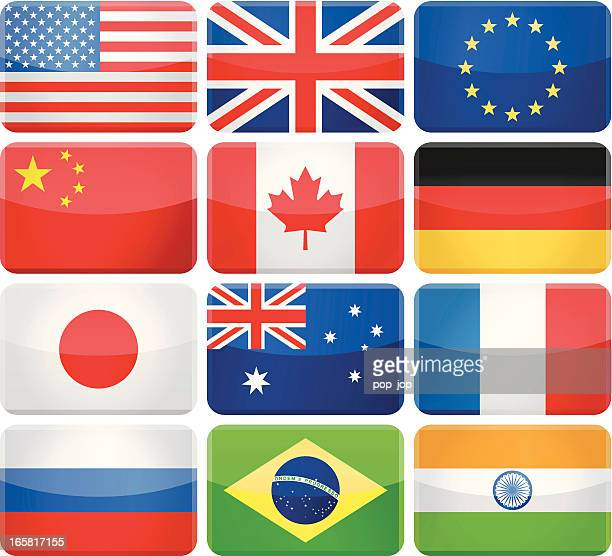 Glossy rectangle rounded flags - Most popular