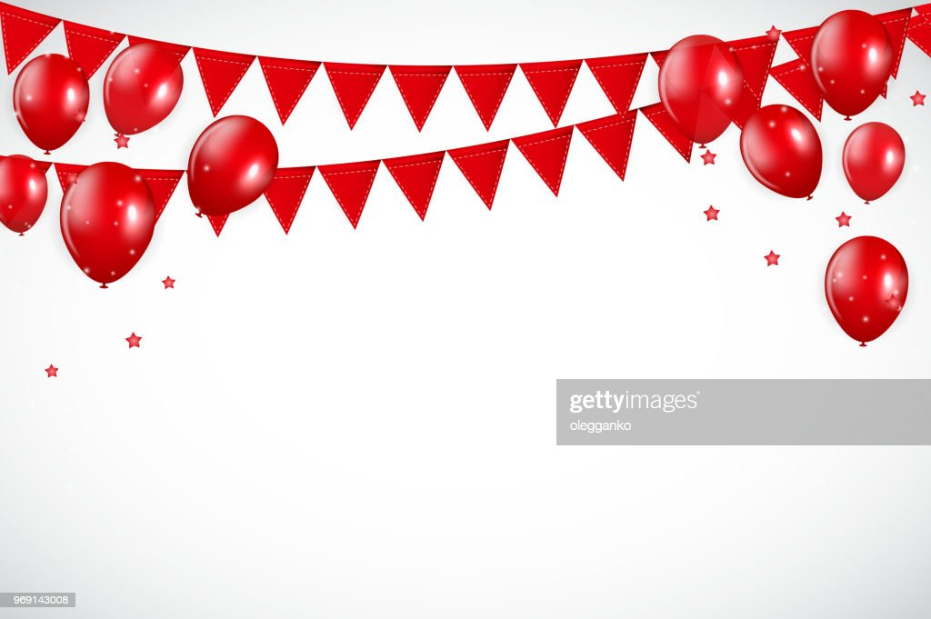 Glossy Red Balloons and Flaf Background Vector Illustration