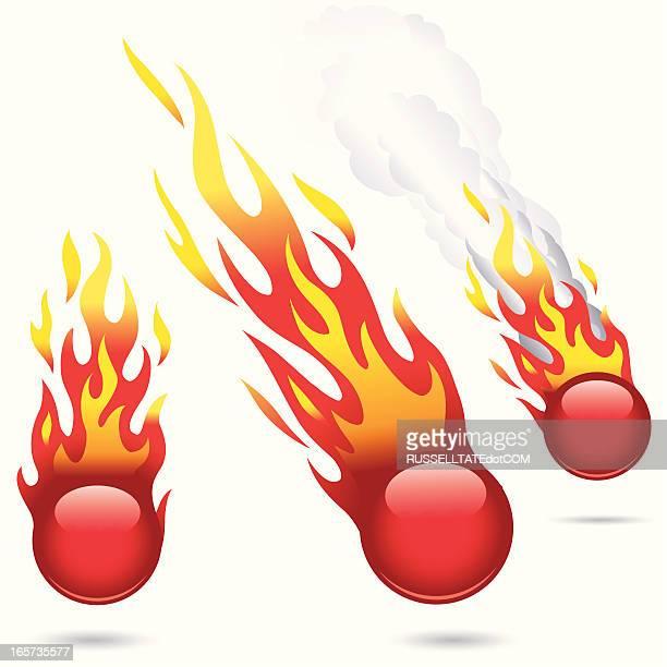 ilustraciones, imágenes clip art, dibujos animados e iconos de stock de fireballs rojo brillante - llamas de fuego