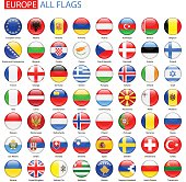 Glossy Round Flags of Europe - Full Vector Collection