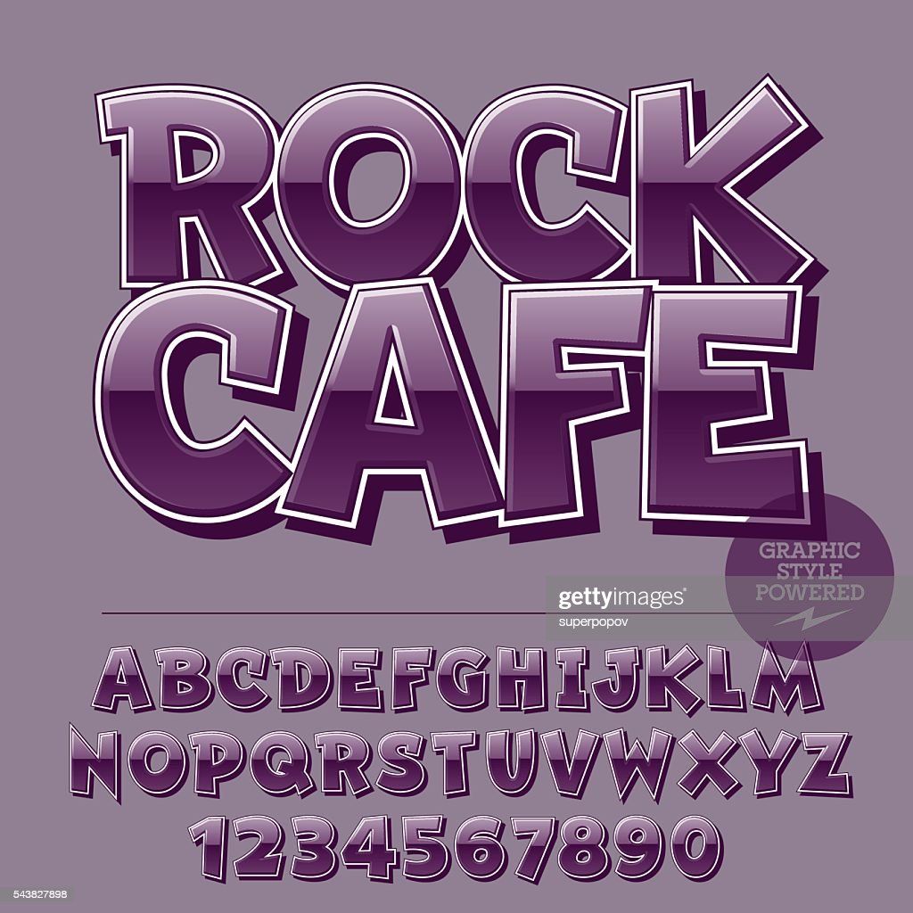 Glossy Set Of Letters Numbers Symbols With Text Rock Cafe Vector Art