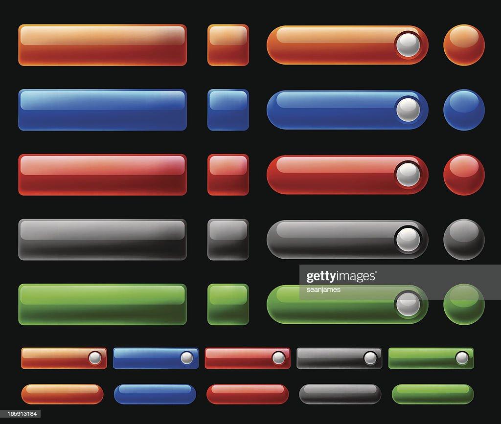 Glossy, Shiny Web Interface Buttons