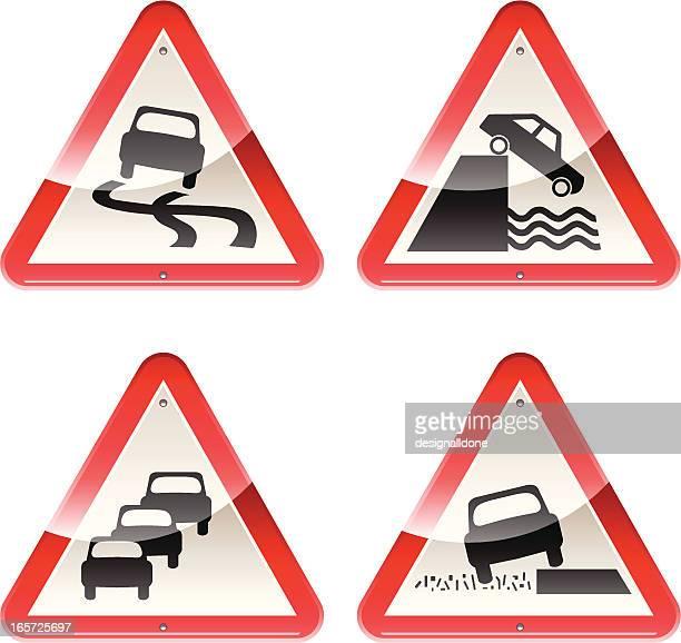 ilustrações, clipart, desenhos animados e ícones de brilhante sinais: cuidado de carros - skidding