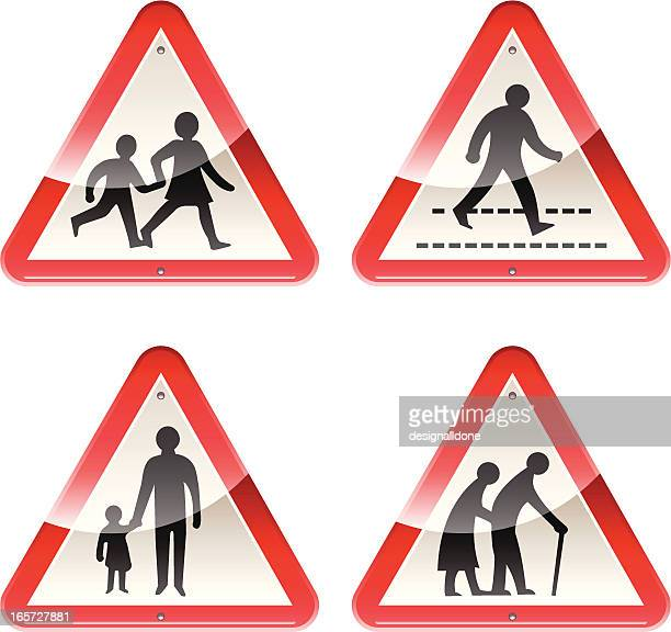 glossy signs: caution people - crossing sign stock illustrations, clip art, cartoons, & icons