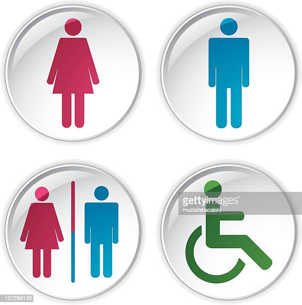 glossy toilet badges - assistive technology stock illustrations, clip art, cartoons, & icons