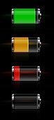 Glossy transparent battery level indicator