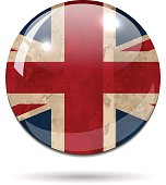 Glossy United Kingdom grung flag sphere on white background