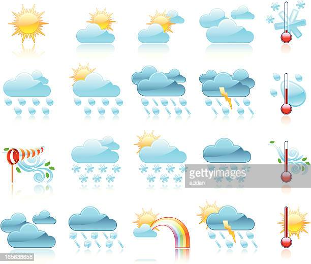 glossy weather icons - hailstone stock illustrations, clip art, cartoons, & icons
