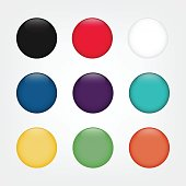 Glossy web round buttons in different colors.