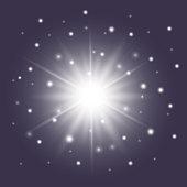 Glossy white star with sparkles. Sunburst symbol