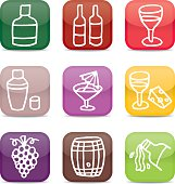 Glossy wine and alcohol icon set