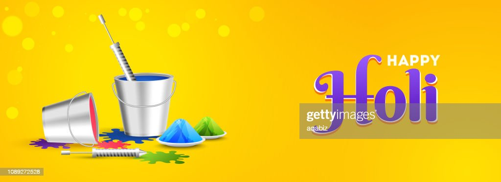 Glossy yellow header or banner design with festival elements for Happy Holi festival celebration.