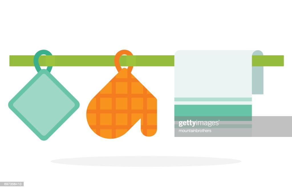 Glove and potholder kitchen towel hanging on the ledge vector flat isolated