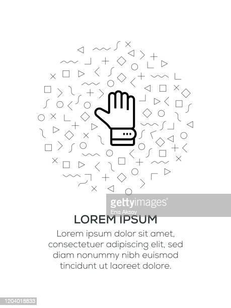 ilustraciones, imágenes clip art, dibujos animados e iconos de stock de icono de guante dispuesto con formas geométricas - guantes de portero