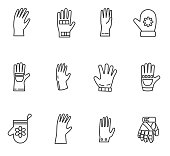 gloves and mittens icons set.