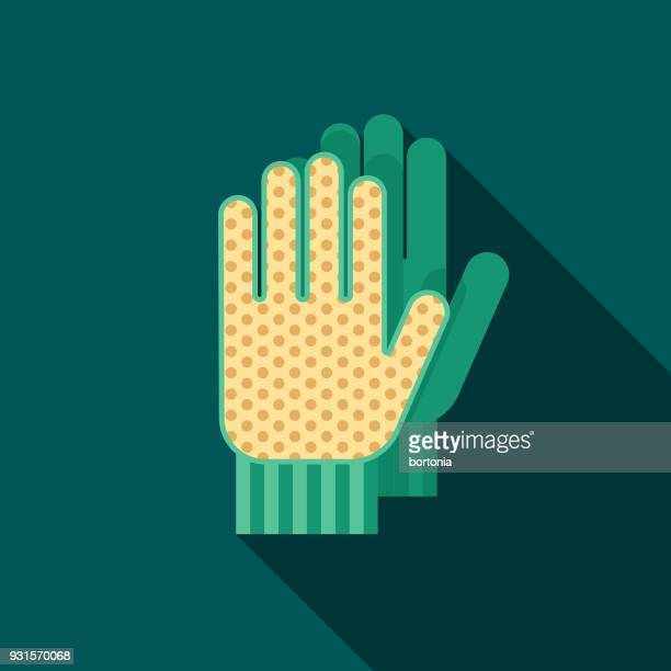 gloves flat design gardening icon with side shadow - work glove stock illustrations