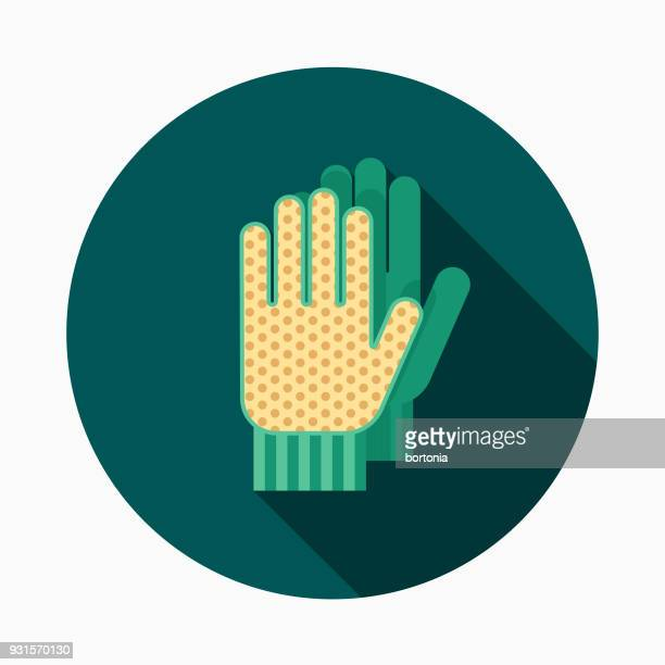 gloves flat design gardening icon with side shadow - gardening glove stock illustrations, clip art, cartoons, & icons