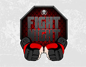 MMA gloves hands octagon stage cage poster. Mixed martial arts fight night banner. Fighting emblem element. Boxing decoration illustration. Vector background