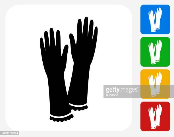 gloves icon flat graphic design - washing up glove stock illustrations, clip art, cartoons, & icons